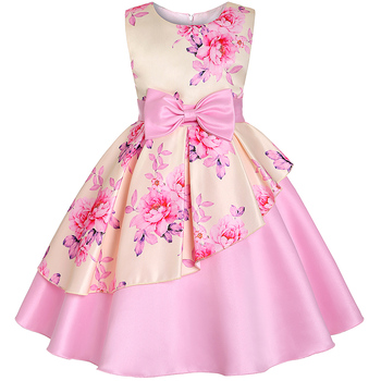 Baby Kids Flower Pretty Birthday Dresses Children Clothing Toddler Wedding Princess Dress Eveving Party Costume Clothes With Bow 3