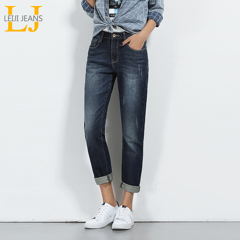 LEIJIJEANS Hot Sale Spring Plus Size Moustache Effect Ripped Bleached Mid Waist Full Length Women Straight Stretch Jeans 5640