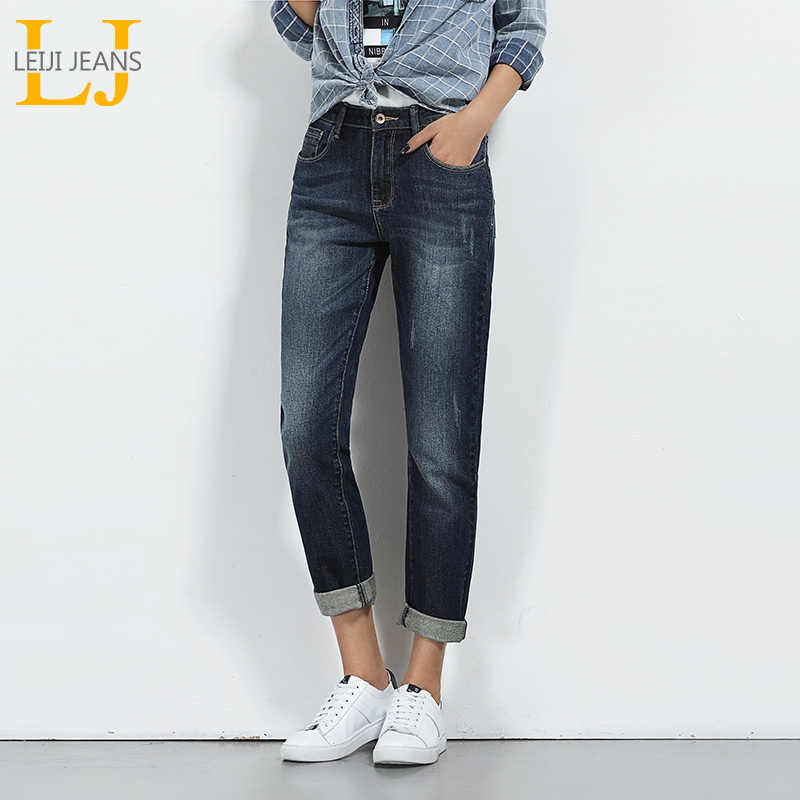 7f2941898bd LEIJIJEANS Hot Sale Spring Plus Size Moustache Effect Ripped Bleached Mid  Waist Full Length Women Straight