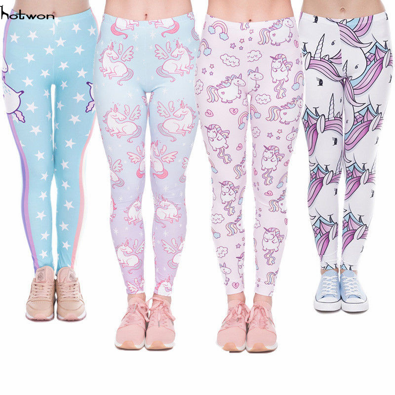 2017 Kawaii Unicorn Women Workout Print Pants   Leggings   Lady Fitness Stretch Trousers bodysuit