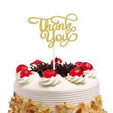 Thank you Cake Toppers Gold Cake Flags Birthday Kids Favors Cake Decoration Cupcake Topper for Wedding Dessert Table Decor DIY funnybunny cupcake toppers gold glitter crown cake decoration dessert table birthday party decor