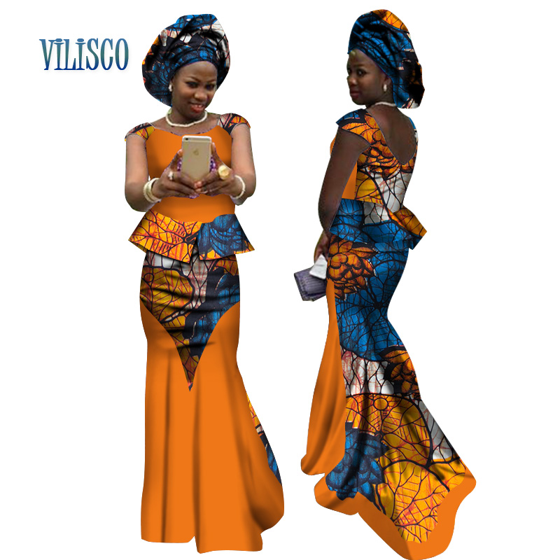 New African Traditional 2 Piece Skirt Sets Splice Clothing Bazin African Print Tops and Skirt Sets with Headtie for Women WY2671