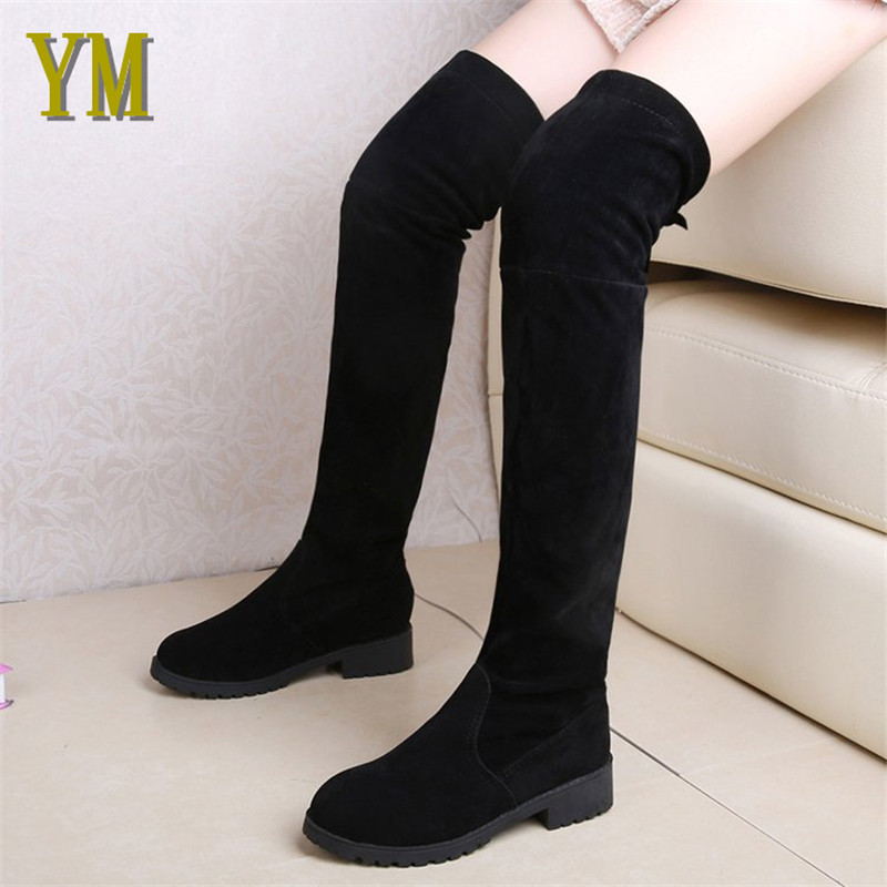 Low Heels Keep Autumn /Winter Warm Women Boots Over The Knee Boots Stretch Fabric Knee High Boots Female Women Shoe Botas MujerLow Heels Keep Autumn /Winter Warm Women Boots Over The Knee Boots Stretch Fabric Knee High Boots Female Women Shoe Botas Mujer