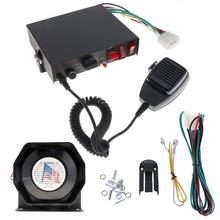 200W 12V 8 Sound Speaker Car Warning Alarm Police Fire Siren Horn PA with MIC System