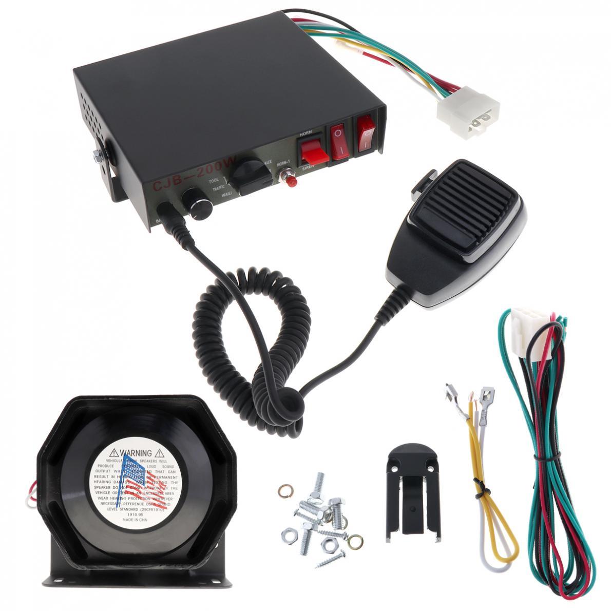 feedback 4.3 shanchu 200W 12V 8 Sound Speaker Car Warning Alarm Police Fire Siren Horn PA with MIC System