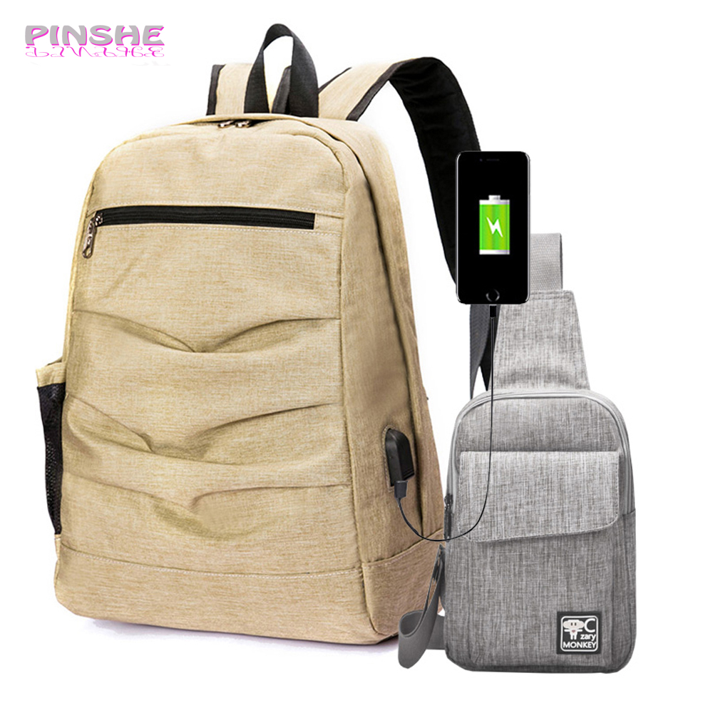 Multifunction Women Backpack Preppy Style With USB Charging Unisex 15 inch Laptop Fashion Canvas 2 Sets Shoulder For Teenager fn01 multifunction canvas shoulder bag handbag backpack for women khaki