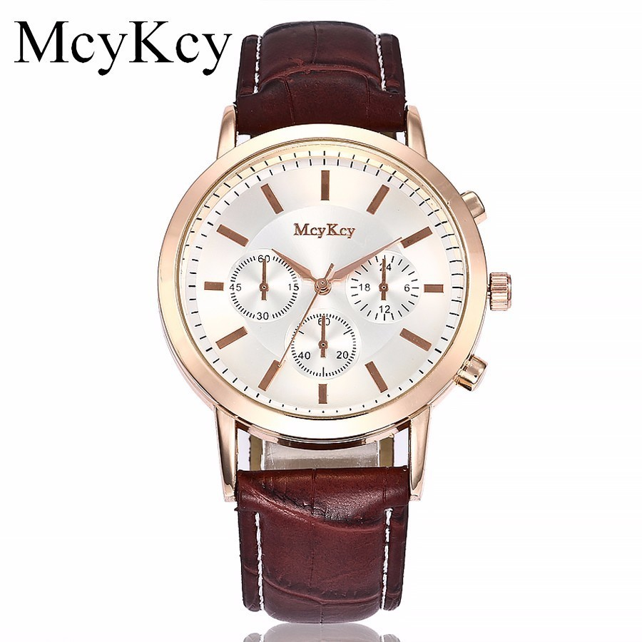 Hot Sale McyKcy Brand Fashion Men Business Watch Top Brand Luxury Male Clock Leather Mens Quartz Wrist Watch Relogio Masculino 2016 hot sale fashion brand men watch stainless steel band quartz wrist watch casual business watch relogio masculino clock