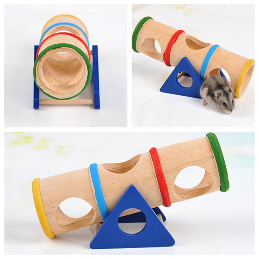 Home Accessories  Hamster Product Rainbow Upturned Barrel Hamster Toy Pet Supplies Wooden Porous Design