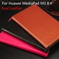 Cubierta de cuero real para huawei mediapad m3 m3 8.4 pulgadas tablet pc funda protectora para huawei btv-w09 btv-dl09 + film + stylus + otg