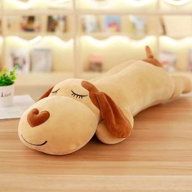 large 80cm brown prone dog plush toy soft pillow birthday gift h2713
