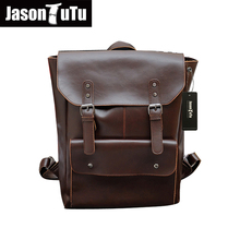 JASON TUTU men backpack vintage leather backpack big size travel bag casual laptop backpack school bags