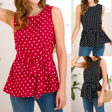 Summer new polka dot fashion womens T-shirt Slim sleeveless printed shirt belt casual female sexy chiffon