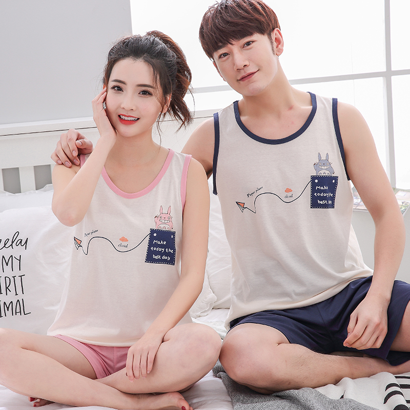 Summer Pyjama Loose Men Style Couple Pijama Set Sleepwear Top+ Pants Young Lovers Pajamas Sets Women Nightwear M-4XL