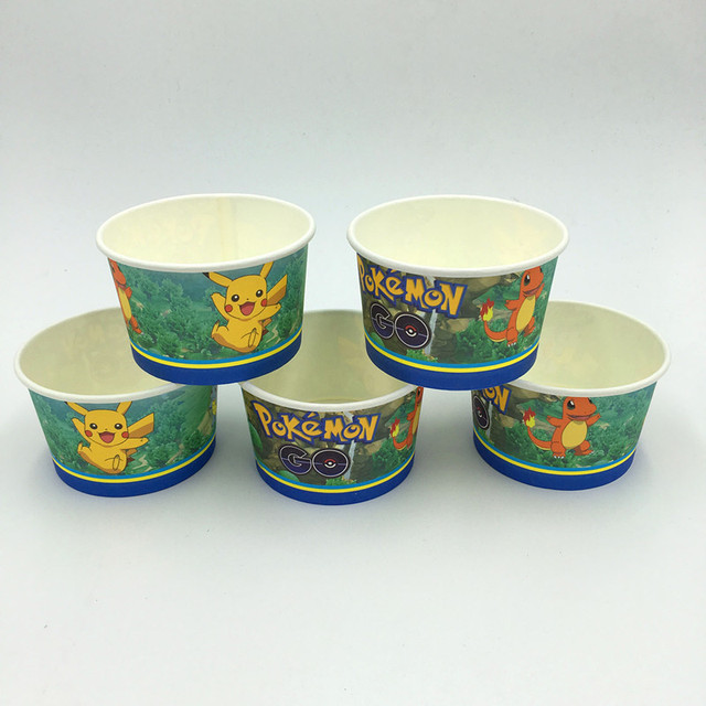 Pokemon Ice Cream Cup Cake Kids Favor Birthday Bowel Go Paper Happy Party Supplies