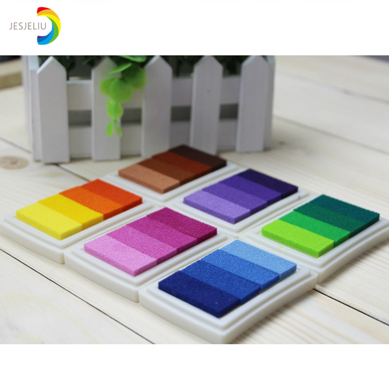 6 Colors Homemade DIY Gradient Color ink Pad Multicolour Inkpad Stamp Decoration Fingerprint Scrapbooking Accessories 20 colors can choose diy scrapbooking vintage crafts ink pad colorful inkpad stamps sealing decoration stamp