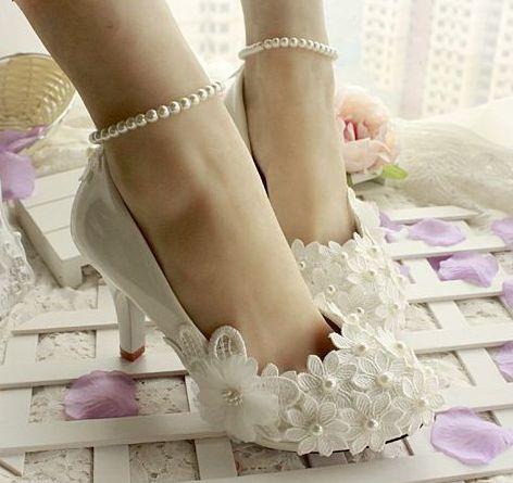 c9a92e2f0 Marfim sapatos de casamento das mulheres, pulseiras de pérolas tornozelo  mulher estável flor marfim sapatos de noiva, personalizado handmade da  fêmea do ...
