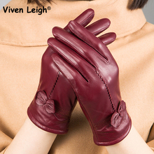 Viven Leigh Genuine Leather Gloves Women Casual Bowknot Genuine Sheepskin Gloves Lady Warm Lining Winter Female Gloves Mittens