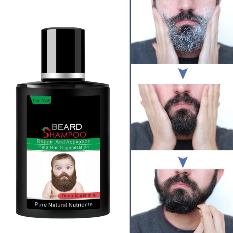 Rich In Vitamin Men Beard Shampoo Cleansing Masculinity Beard Care Gloss Nourishing Cleanser Removal Bacteria Gentleman Gift