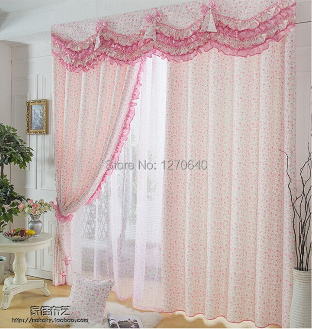 Lovely Pink Flower Baby Curtains For Windows Lace Curtain