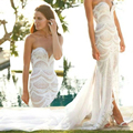 2015 Luxury Fashion Full Beading Wedding Dresses Split Chiffon Train Sweetheart Bridal Gowns vestidos de novia