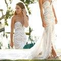 2015 Moda De Luxo Cheio de Beading Casamento Vestidos de Split Chiffon Train Querida Vestidos de Noiva vestidos de novia