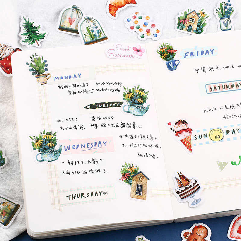 40Pcs Cute Flamingo Stickers Kawaii Whale Stickers Bullet Journal Toys Sticker For Kid DIY Scrapbooking Diary Albums Supplies