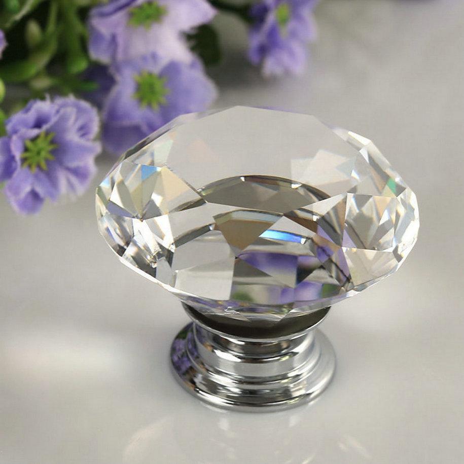 1 pc 30mm Diamond Clear Crystal Glass Door Pull Drawer Cabinet Furniture Accessory Handle Knob Screw Hot Worldwide clear crystal glass cabinet knob door knob crystal knob