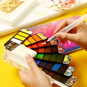 Image 1 - Aquarelle peinture étudiant enfants peinture solide couleur de leau Pigment ensemble en boîte Portable Art fournitures