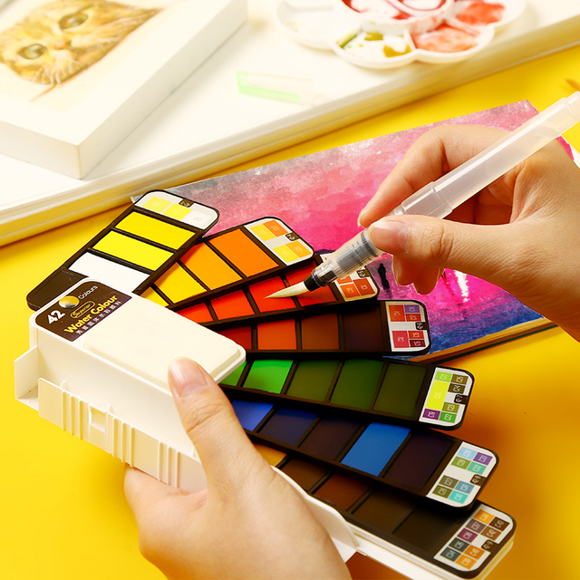 Aquarelle peinture étudiant enfants peinture solide couleur de leau Pigment ensemble en boîte Portable Art fournitures