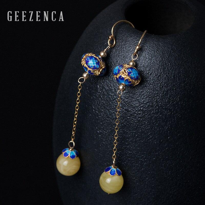 925 Sterling Thai argent pierres précieuses ambre cloisonné boucles d'oreilles à la main artisanat bijoux fins femmes Vintage pendaison boucle d'oreille partie