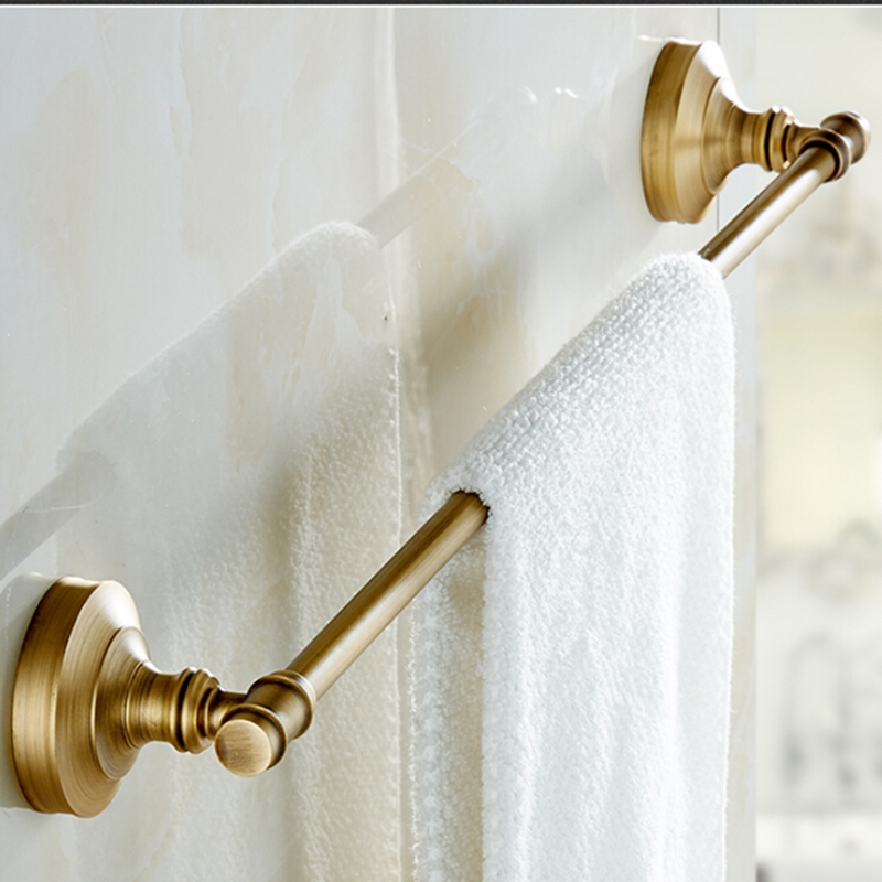 Antique Brass Bathroom Towel Rack Holder Single Towel Bar Solid Brass Towel Bars new thickened solid brass towel rack single towel bar towel ring black