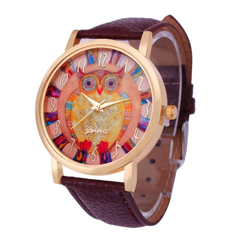 2016 New Cute Owl Pattern Leather Band Geneva Women Watches Quartz Watches Wholesale Free Shipping