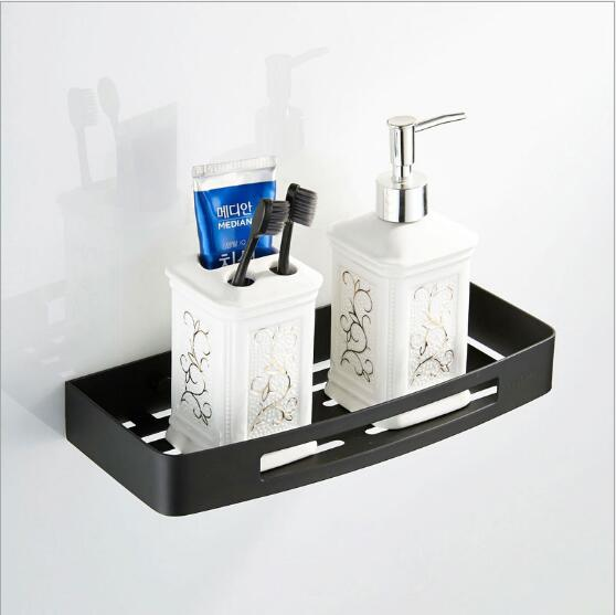 Wall Mounted Square Black Bathroom Shampoo Holder Soap Basket Bath