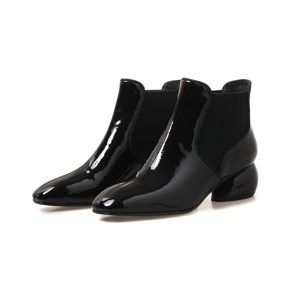 Otoño Mujeres winepu Genuino Plataforma blackfur Para Mujer Las Invierno Strange Blackpu Zapatos Tobillo winefur Cuero Aiweiyi Slip Botas On Heels wxUqITF8WX