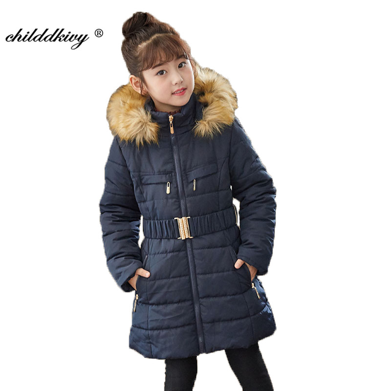 Kids girls padded jacket winter coat plus velvet thick fur collar casual jacket