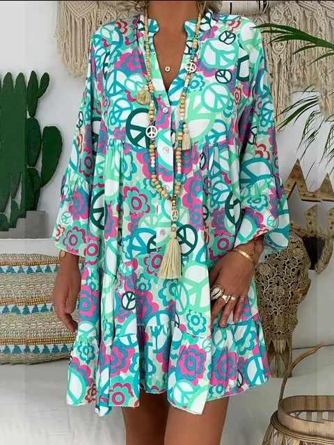 Женское пляжное платье, летнее, плюс размер, уличная, с принтом, сексуальное мини-платье, женское платье с v-образным вырезом, с оборками, женские платья, халат, Femme 2019