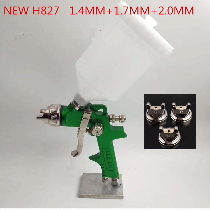 где купить HVLP NEW H-827 HVLP SPRAY GUN gravity feed stainless steel nozzle 1.4mm 1.7mm 2.0mm auto Car face Paint spray gun дешево