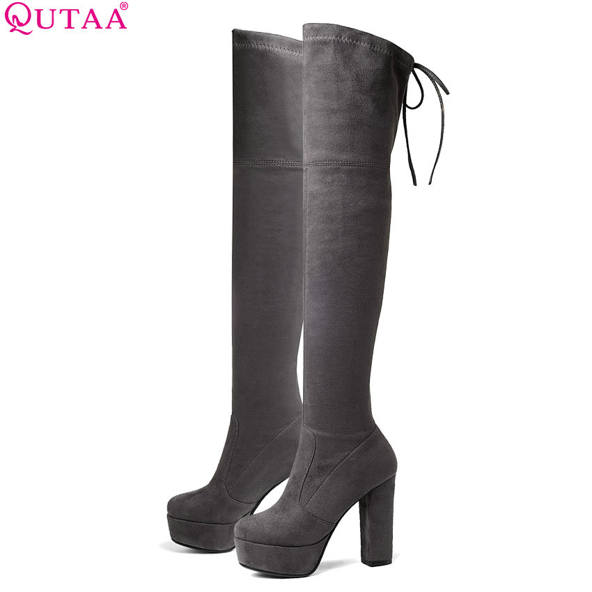 QUTAA 2019 Women Over The Knee High Boots Sexy Elegant Winter Shoes Square High Heel Round Toe Platform Women Boots Size 34-43