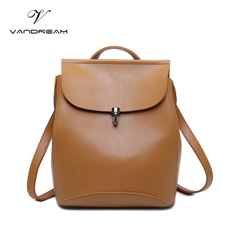 2017 High Quality Fashion Women Men Backpack PU Leather Solid Brown School Bag Teenagers Girls Top