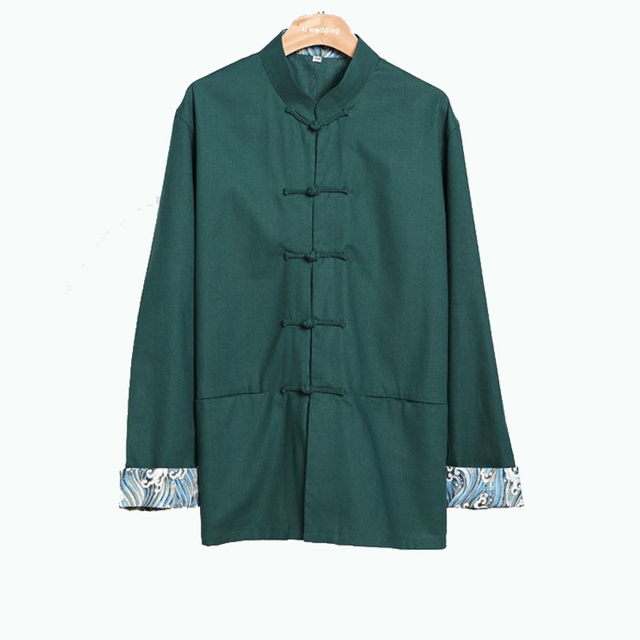 d6c136a3e6fe Automne de Nouveaux Hommes À Manches Longues Kung Fu Chemise Traditionnelle  Chinoise Coton Linge Lâche Robe
