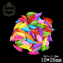 2016 New 290Pcs Acrylic Beads Mixed Spacer Leaves Shape Beads For Making Bracelet & Necklace Jewelry 10*26MM