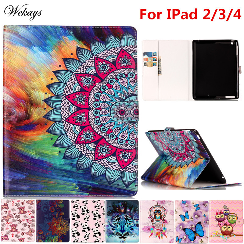Wekays For Apple IPad 2 3 4 Cartoon Oil Leather Flip Fundas Case For Coque IPad2 IPad3 IPad4 Tablet Cover Case For Kids Children for apple ipad mini 4 tablet case pu flip leather stand cartoon animal owl cat cover for ipad mini 4 fundas coque