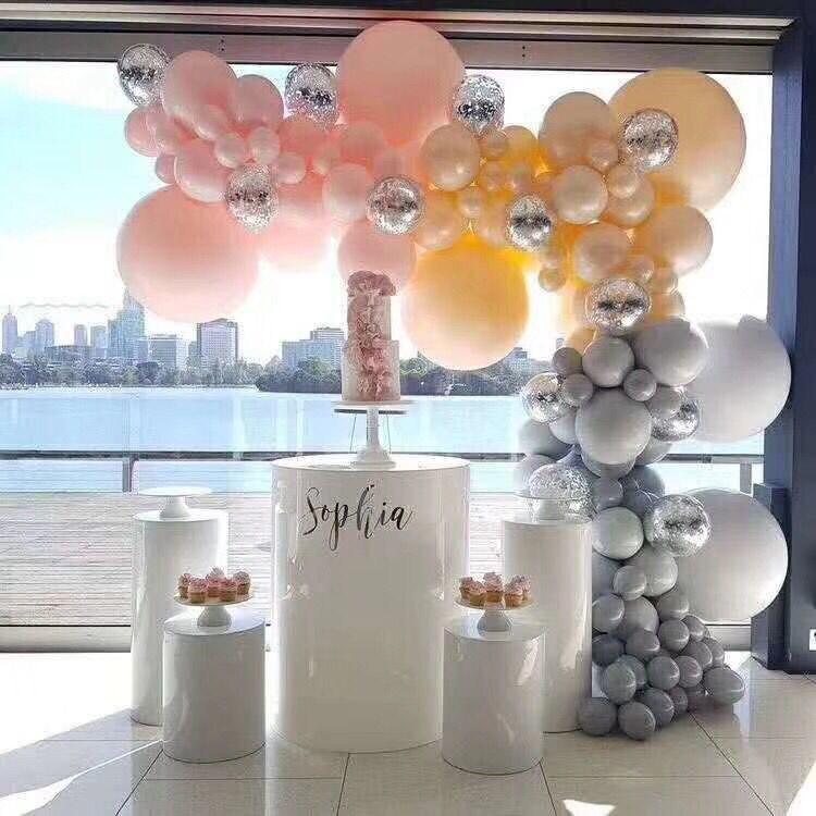2019 grand événement fleur gâteau alimentaire bonbons affichage métal rack mariage table ronde cylindre pilier support colonnes pour enfant douche