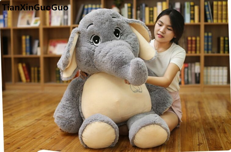 stuffed plush toy large 95cm lovely cartoon gray elephant plush toy soft doll hugging pillow toy birthday gift s0841 tales of xillia elise lutus teepo plushie handmade stuffed plush toy cosplay props 45cm