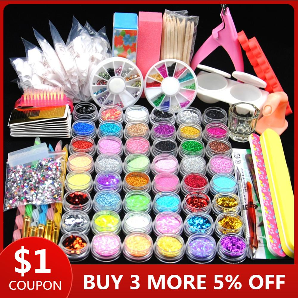 48pcs Nail Acrylic Powder Glitter Powder Set For Manicure Nail Kit Gel Polish Nail Decoration False Nail Tip Gel Brush Tool Set
