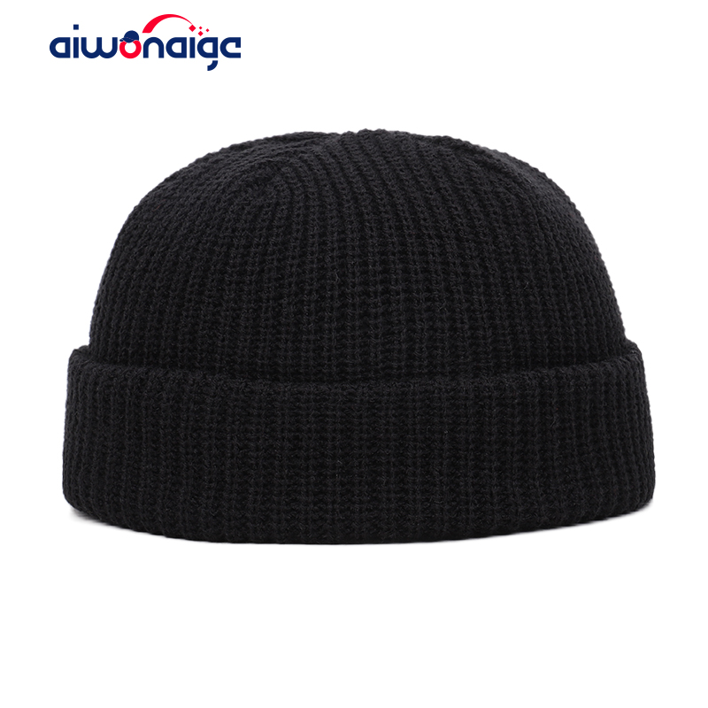 Classic Solid Color Men And Women Cotton Hat Winter Warm Knit Hat Size Adjustable Casual Sports Design Men Hat Outdoor Peas