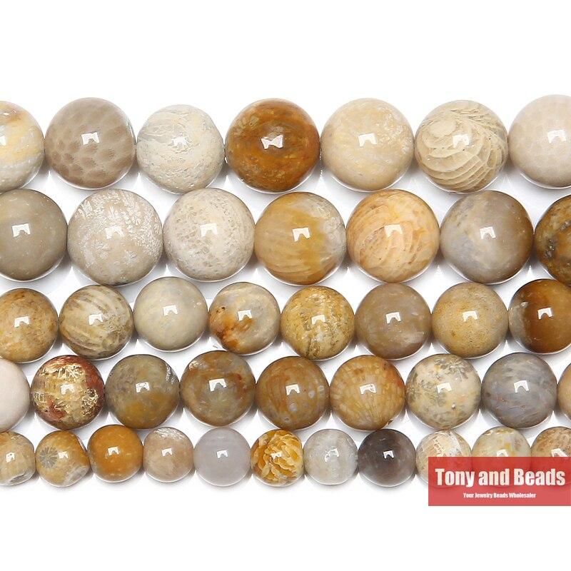 Livraison gratuite naturel chrysanthème pierre corail fossiles perles rondes en vrac 15