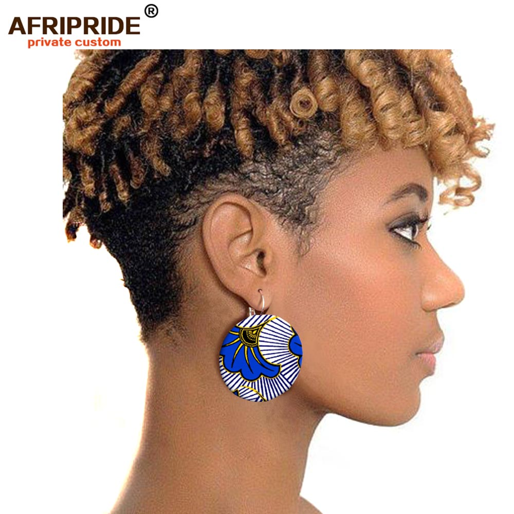 2019 African fashion earring for women ankara fabric african fashion stud earrings print flower earrings jewelry AFRIPRIDE S004 in Stud Earrings from Jewelry Accessories