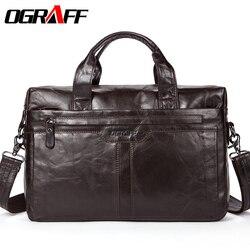 OGRAFF de los hombres de cuero genuino de la bolsa monederos y bolsos Messenger bolsas de hombro de marca famosa para hombres, bolsos de diseñador de alta calidad