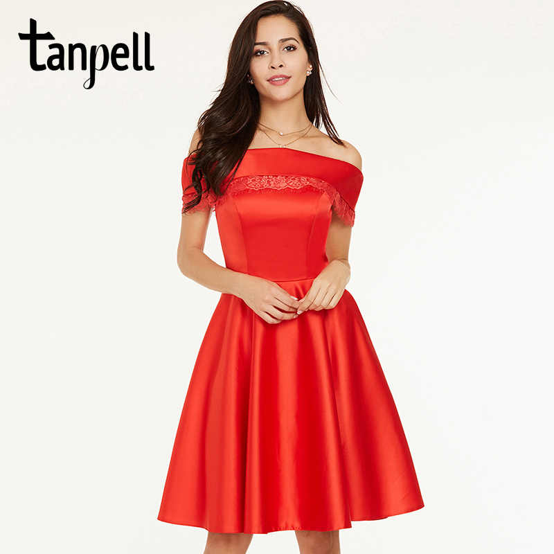 951a05c563098 Tanpell short homecoming dress red off the shoulder knee length a line gown  cheap women prom cocktail formal homecoming dresses